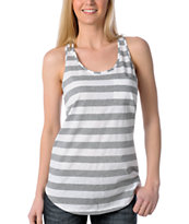 Zine Girls Racerback White & Grey Stripe Tank Top