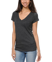 Zine Girls Relaxed V-Neck Heather Black Tee Shirt