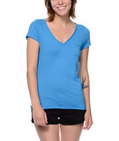 Zine Girls Sapphire Blue Raw Edge V-Neck Tee Shirt