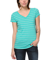 Zine Girls Spectra Green & Oat Striped V-Neck Tee Shirt