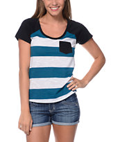 Zine Girls Tempo Lyons Blue & White Stripe Pocket Tee Shirt