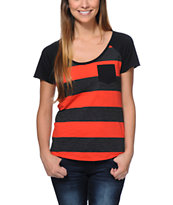 Zine Girls Tempo Neon Red & Charcoal Stripe Pocket Tee Shirt