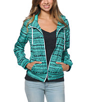 Zine Girls Tribal Print Mint Windbreaker Jacket