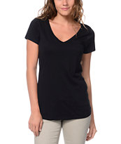 Zine Girls V-Neck Pocket Black Tee Shirt