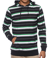 Zine Greenpeace Black & Green Striped Hooded Shirt