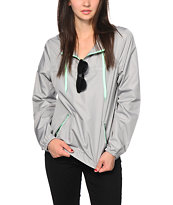 Zine Grey & Mint Pullover Windbreaker Jacket