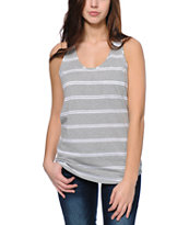 Zine Grey & White Mini Stripe Pocket Tank Top