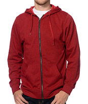 Zine Hooligan Marled Red Zip Up Hoodie