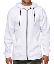 Zine Hooligan White Zip Up Hoodie