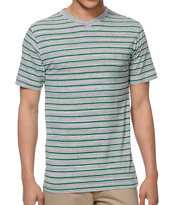 Zine Hunter Grey Stripe V-Neck Tee Shirt