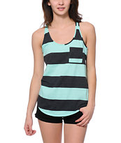 Zine Ice Green & Charcoal Rugby Stripe Tank Top