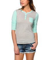 Zine Ice Green & Grey Henley Shirt