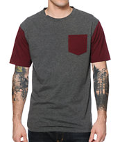 Zine Iron Burgundy & Charcoal Tee Shirt