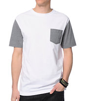 Zine Iron White & Grey Pocket Tee Shirt