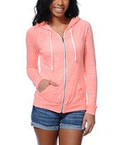 Zine Jersey Neon Coral Zip Up Hoodie