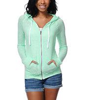 Zine Jersey Neon Mint Zip Up Hoodie
