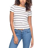 Zine Kajsa White Blue & Red Striped Lettuce Edge T-Shirt