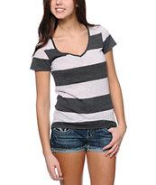 Zine Lavender & Charcoal Rugby Stripe V-Neck T-Shirt