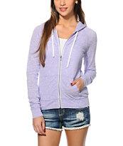 Zine Lavender Raglan Zip Up Hoodie