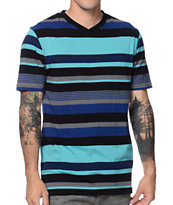 Zine Lines On Lines Aqua Striped V-Neck Tee Shirt