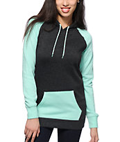 Zine Long Mint & Charcoal Colorblock Hoodie