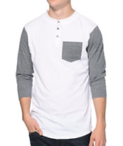 Zine Lucky White & Charcoal Henley Pocket Baseball Tee Shirt