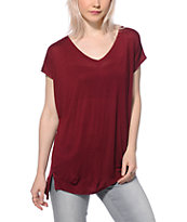 Zine Marla Burgundy V-Neck T-Shirt