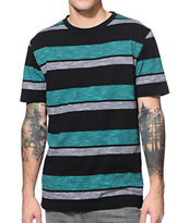 Zine Mercer Teal & Black Stripe Tee Shirt