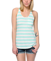 Zine Mint & White Stripe Confetti Pocket Tank Top