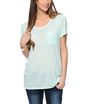 Zine Mint Boyfriend Fit Pocket Tee Shirt