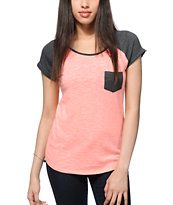 Zine Neon Coral & Charcoal Raglan Pocket T-Shirt