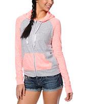 Zine Neon Coral & Grey Raglan Zip Up Hoodie