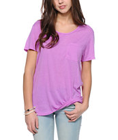 Zine Neon Purple Boyfriend Fit Pocket T-Shirt