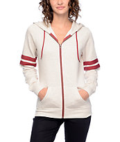 Zine PSI Athletic Stripe Cream & Red Zip Up Hoodie