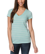 Zine Pastel Green & White Striped V-Neck Tee Shirt