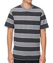 Zine Pop Up Black, Grey & White Striped V-Neck Tee Shirt