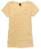 Zine Popcorn Yellow V-Neck Pocket T-Shirt