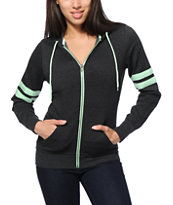 Zine Psi Charcoal & Mint Athletic Stripe Zip Up Hoodie