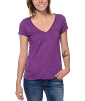 Zine Purple Raw Edge V-Neck Tee Shirt