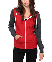 Zine Red & Charcoal Colorblock Zip Up Hoodie