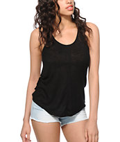 Zine Rho Black Ribbed Tank Top
