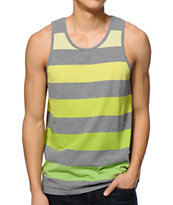 Zine Rising Green & Grey Stripe Tank Top