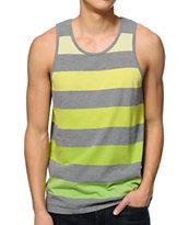 Zine Rising Green & Grey Stripe Tank Top