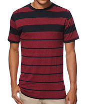 Zine Ronburgendy Burgundy Stripe Tee Shirt