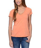 Zine Salmon Raw Edge V-Neck Tee Shirt
