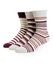 Zine Sarah 3 Pack Blackberry Stripe Crew Socks