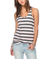Zine Seashell Pink & Charcoal Stripe Pocket Tank Top