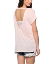 Zine Seashell Pink Scoop Back Dolman Tee Shirt