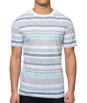 Zine Slub City White & Blue Micro Stripe Tee Shirt