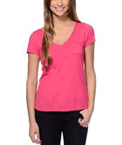 Zine Strawberry Pink Raw Edge V-Neck Tee Shirt